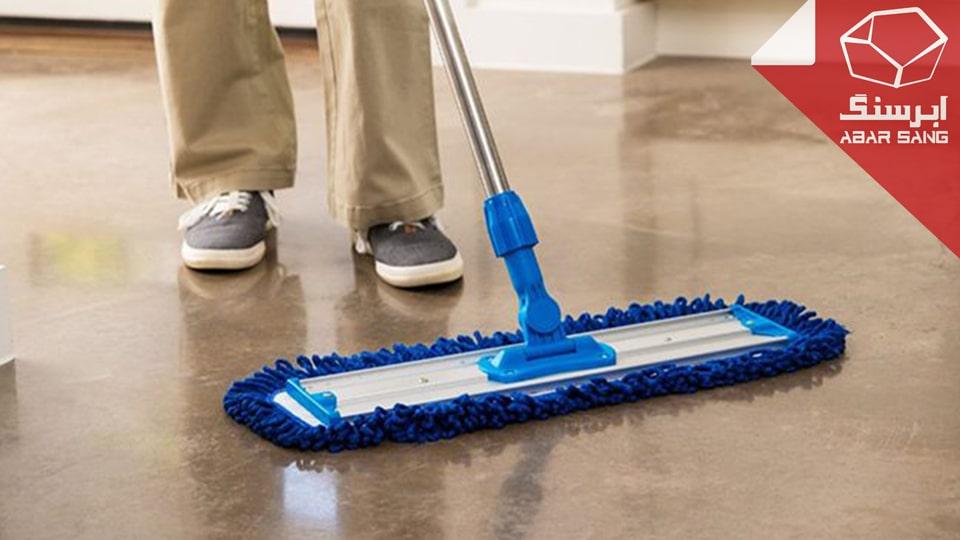 تصویری از تمیز کردن سنگ مرمریت با تی