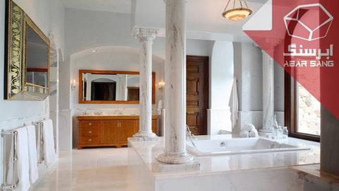 تصویری از کاربرد سنگ مرمریت با کیفیت در حمام