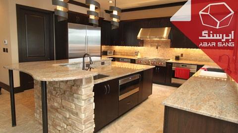 تصویری از کاربرد سنگ تراورتن در آشپزخانه