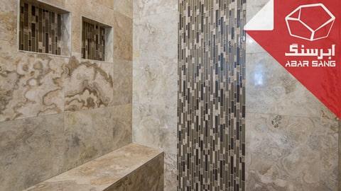 تصویری از کاربرد انواع رنگ سنگ تراورتن در حمام