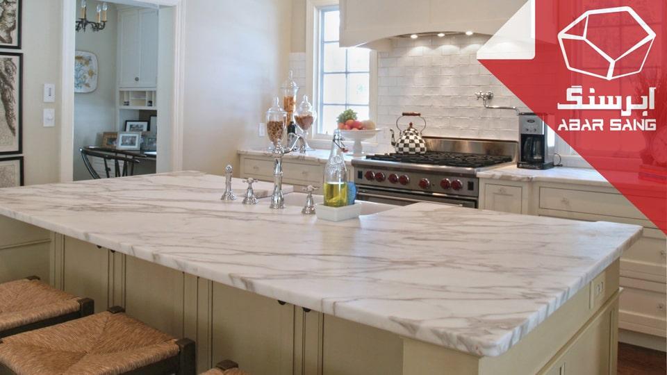 استفاده از سنگ مرمریت در آیلند آشپزخانه
