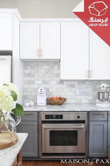 تصویری از کانتر آشپزخانه با سنگ مرمریت